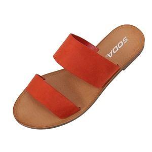 Burnt Orange Double Strap Flat Sandal
